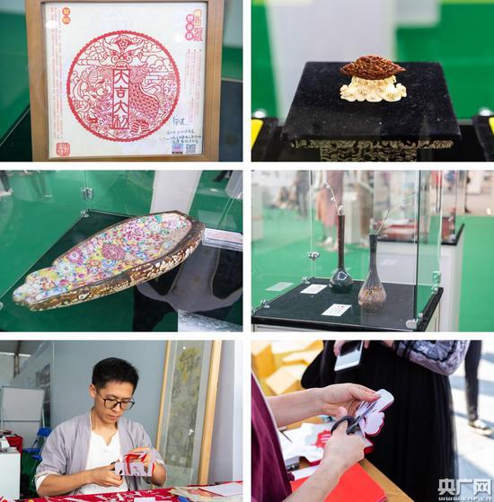 传统工艺作品与传统技艺展现。(央广网发 主办方供图)
