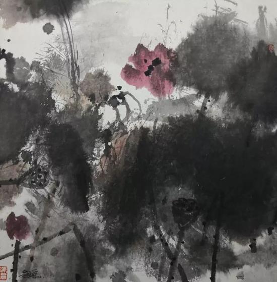《荷塘印象》宣纸水墨 68x68cm 2011
