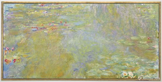 克劳德·莫奈《睡莲池塘》布面油画 100.7 x 200.8 cm 1917-1919年作