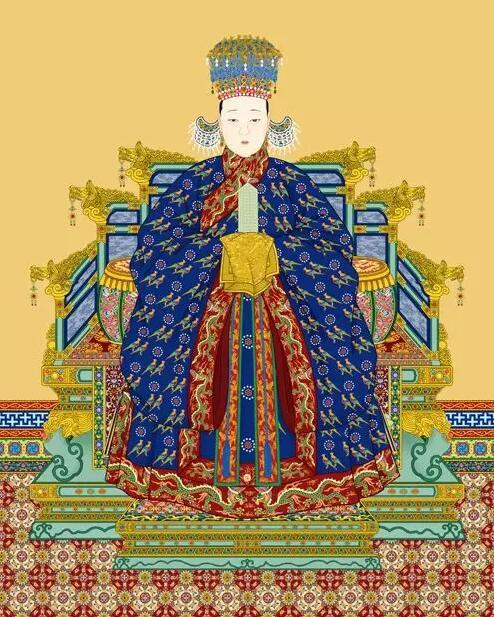 ▲《历代帝后像》中的翟衣形象南薰殿旧藏