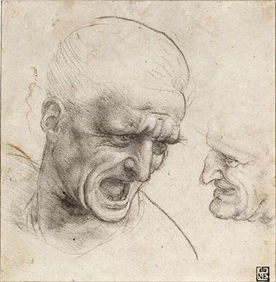 达·芬奇《两个勇士的头像》,1505年,布达佩斯美术博物馆藏