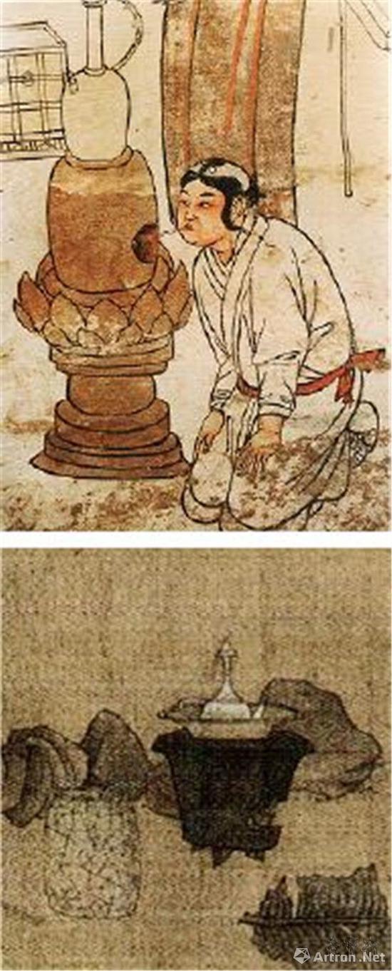 辽代煮水器(上)和明代煮水器(下)对比