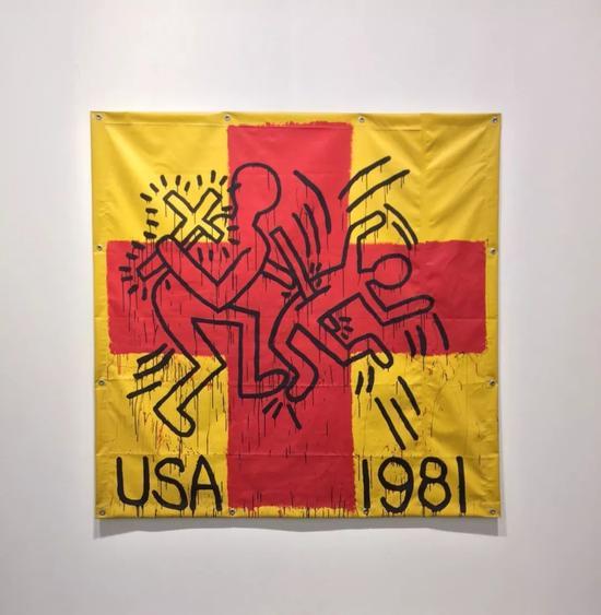 凯斯·哈林《Untitled》,乙烯基油墨,182.9×182.9cm,1981年