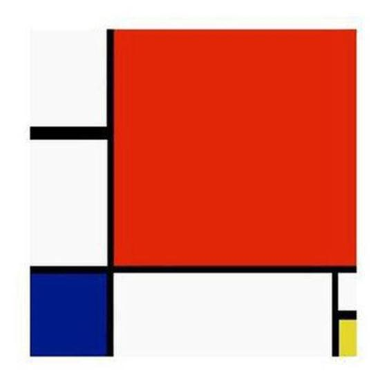 蒙德里安:《红黄蓝的构成》