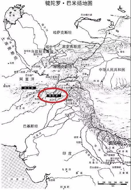 图中画红圈处即为犍陀罗地区