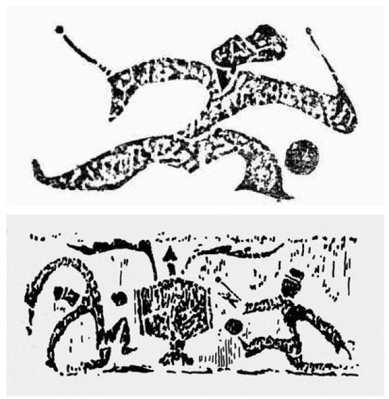 汉代画像石上的蹴鞠