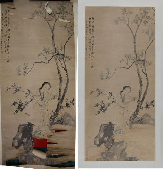 王素《仕女图》修复前后,中国美术馆藏(采访对象提供)