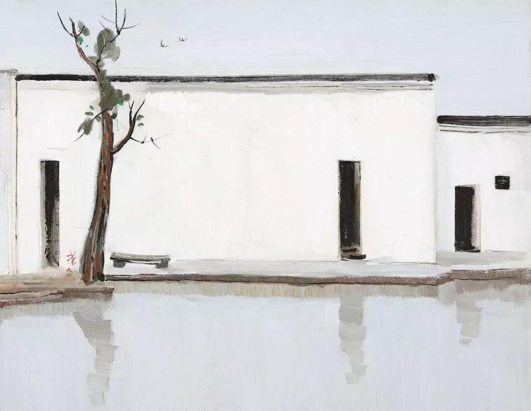 《双燕》1994年 布面油画(局部)