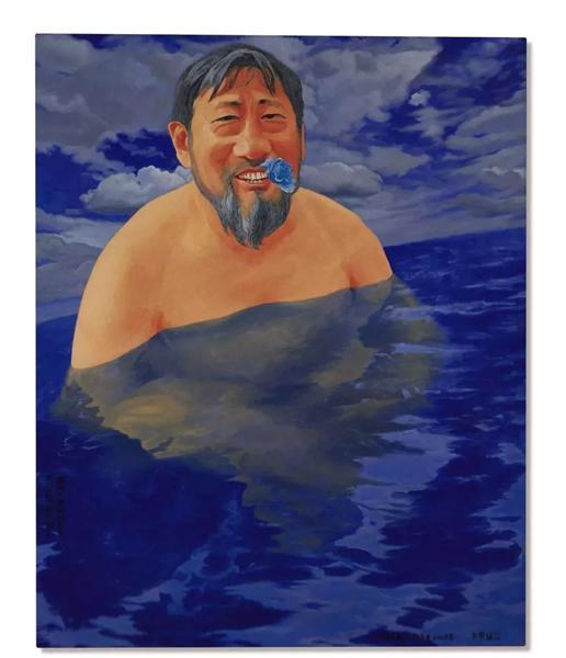 重要亞洲私人收藏 方力鈞《游泳小組時的老栗》 一九九八年至二〇〇三年作 油畫畫布 163x 130 公分 4,000,000- 6,000,000港元