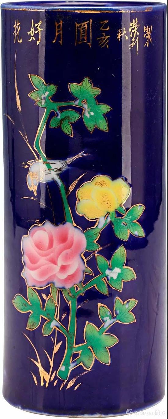 近代 枫溪窑荣利款蓝地花卉纹筒瓶高22厘米