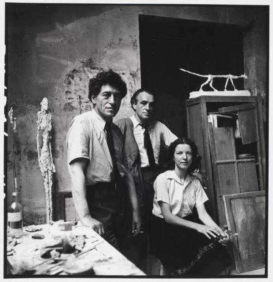 Alberto Giacometti, Diego Giacometti and Annette Arm (1951)