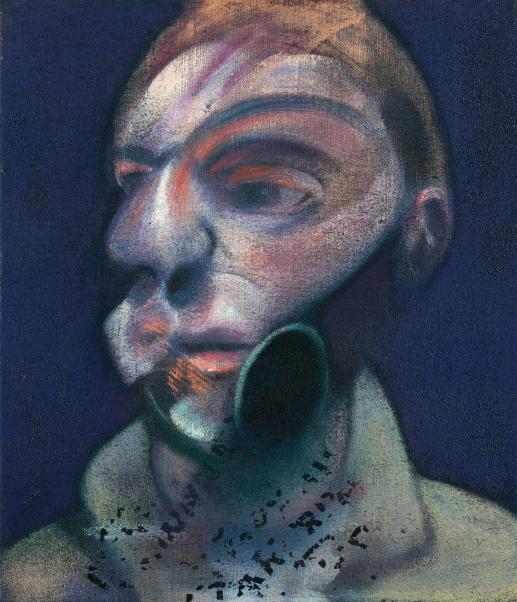 弗朗西斯?培根《自画像》油彩、Letraset印字画布 35.5 x 30.5cm 1975年作