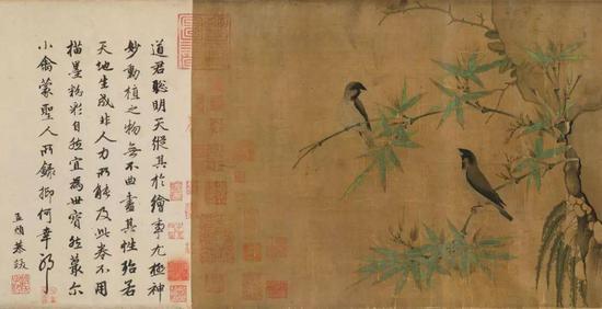 北宋 / 赵佶 /《竹禽图》局部 / 赵孟頫跋