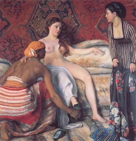 巴齐耶《盥洗室》,布面油画,132×127cm,1869-1870年
