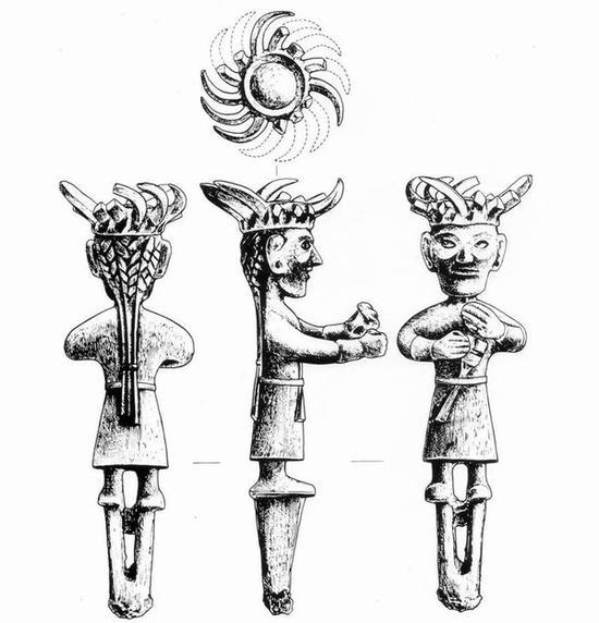 图五,金沙遗址出土戴日冕的铜立人像
