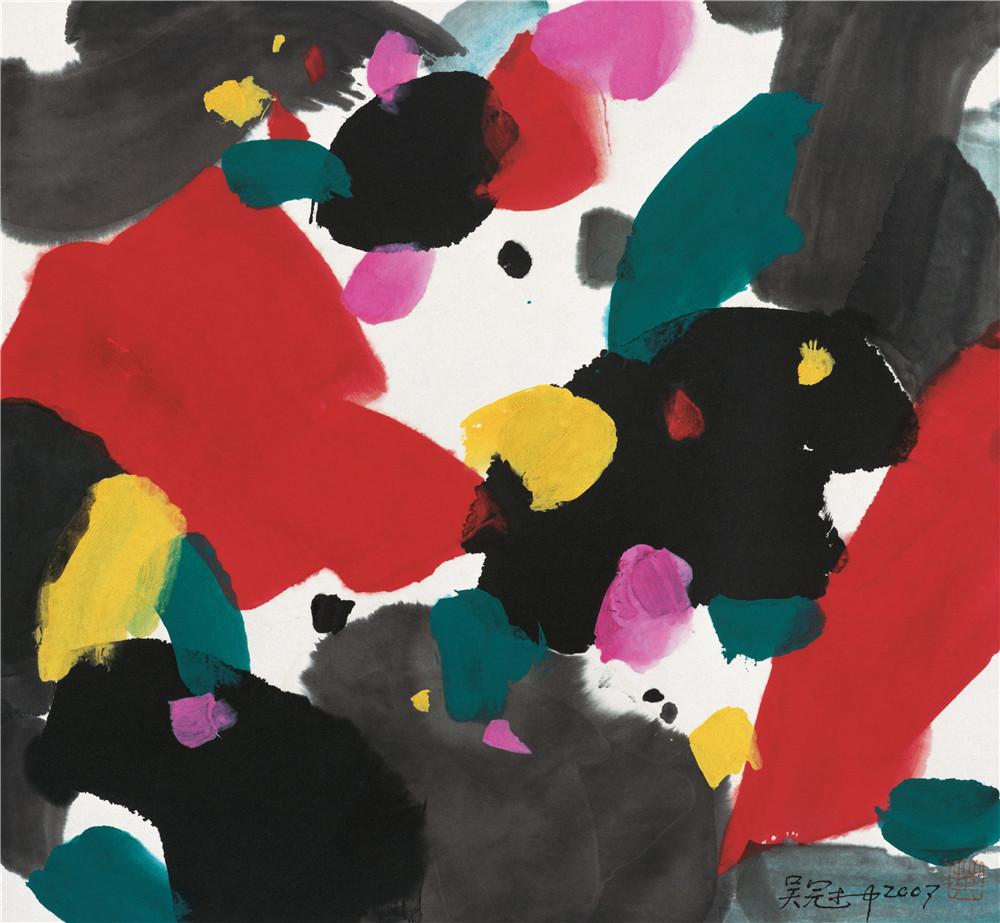欢乐的梦 2007年 吴冠中 48×45厘米 纸本水墨设色 中国美术馆藏