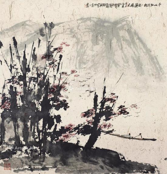 匡时香港秋拍TOP1,崔如琢《千山红树图》,成交价:4484万港元