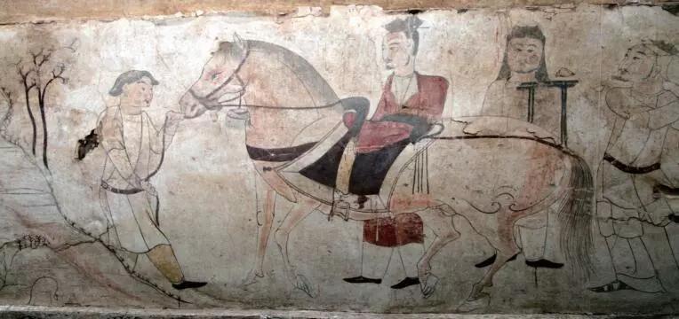"""▲墓道东壁第二层壁画""""马匹贸易图"""""""