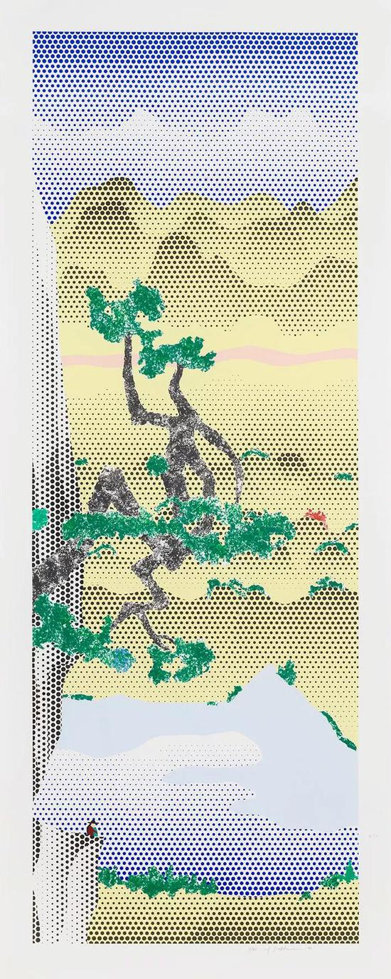 Roy Lichtenstein,Landscape with Poet, 1996, lithograph and screen print onlanaquarelle watercolor paper, 90 3/8 × 36 1/8 inches (229.6 × 91.8 cm), edition7/60? Estate of Roy Lichtenstein。 Photo: Rob McKeever。 Courtesy Gagosian