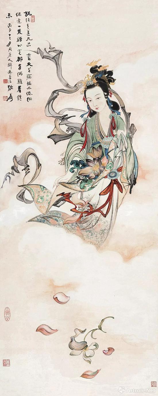 张大千《天女散花图》 130×53cm 1936年作