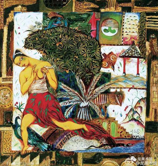 叶永青,《逃逸的困惑》,1989年,布面综合材料,166×173×8.5厘米 ? 龙美术馆