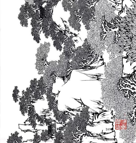 马一宝长卷代表作《皖南山居图》