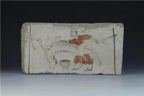 魏晋?彩绘宰羊图壁画砖,高台县博物馆藏