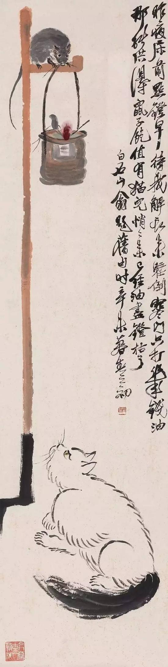 辛未(1931年)作 灯鼠戏猫 立轴 设色纸本