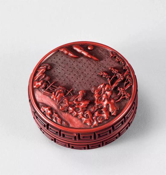 915 明 剔红山水人物香盒成交价:6,210,880日元
