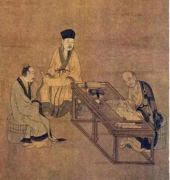 该画为工笔白描,描绘了宋代从磨茶到烹点的具体过程、用具和点茶场面。