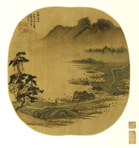 明 董其昌 《燕吴八景图册》之《西湖莲社》 上海博物馆藏