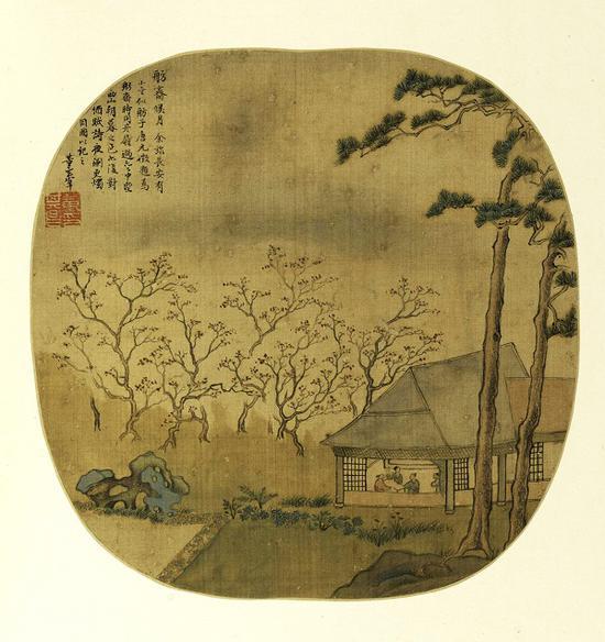 明 董其昌 《燕吴八景图册》之《舫斋候月》 上海博物馆藏