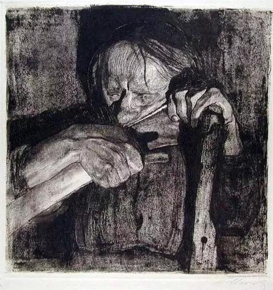 《磨镰刀》(1905) 铜刻版画 30×30cm