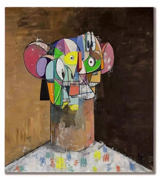 纽约私人收藏 乔治·康多《无题》 二〇一三年作 压克力、炭笔及粉彩亚麻布 198.1 x 117.8 公分 20,000,000 - 30,000,000 港元