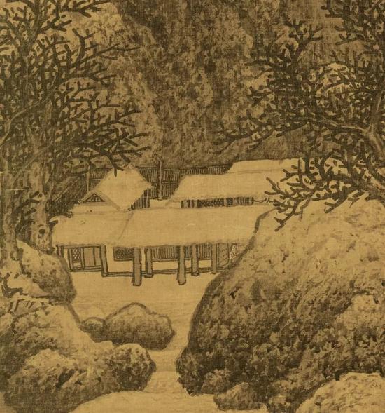 ▲ 《雪景寒林图》中的雪景小院