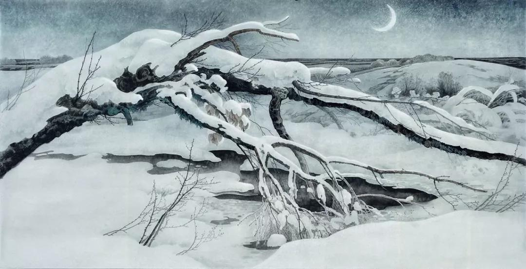 大雪幽月图