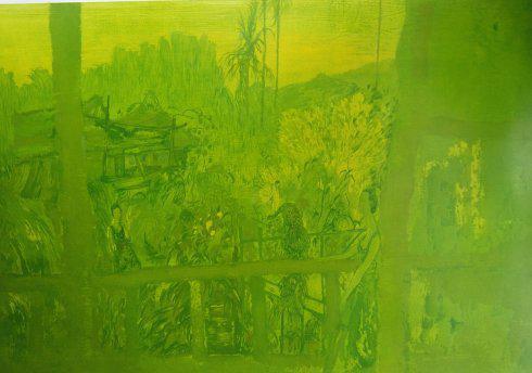 郭仁海 傣家绿色 绝版木刻 79X99CM 2014