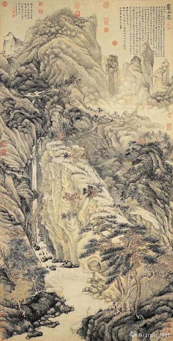 明 沈周 庐山高图 纸本设色 193.8×98.1公分 台北故宫博物院藏