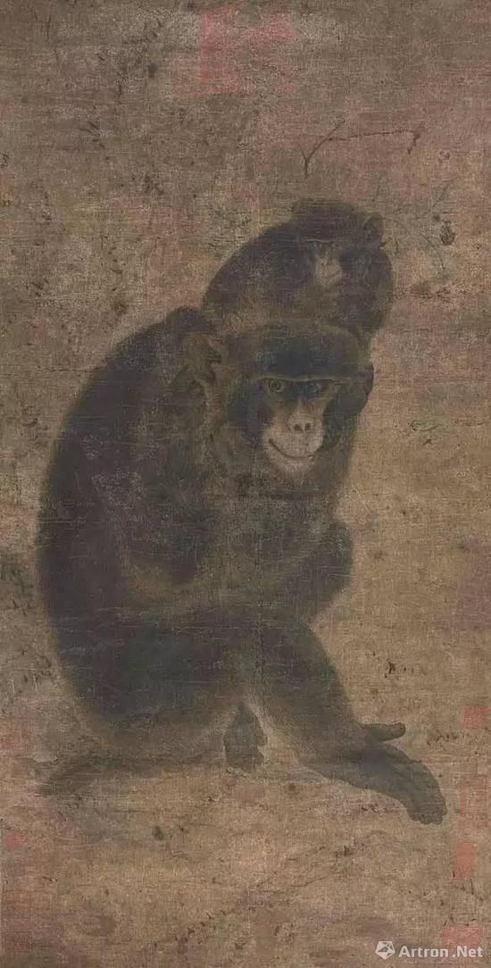 图10。北宋 《子母猴图》立轴,水墨纸本(2011年北京九歌春季3.62亿元成交)