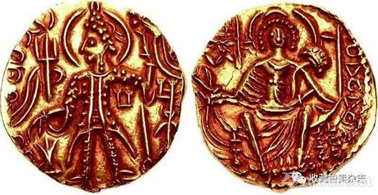 | 夏迦一世 1第纳尔金币 公元325-345国王盛装站像(正)大地神阿多赫索女神坐像(反)