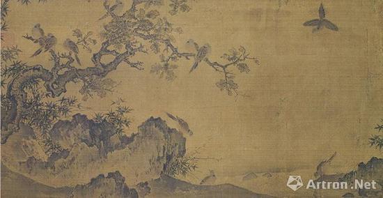 宋黄居寀 竹石锦鸠图 绢本设色 23.6×45.7厘米 台北故宫博物院藏