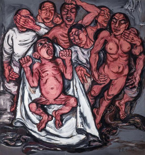 曾梵志《肉系列之三:献血过量》布面油画