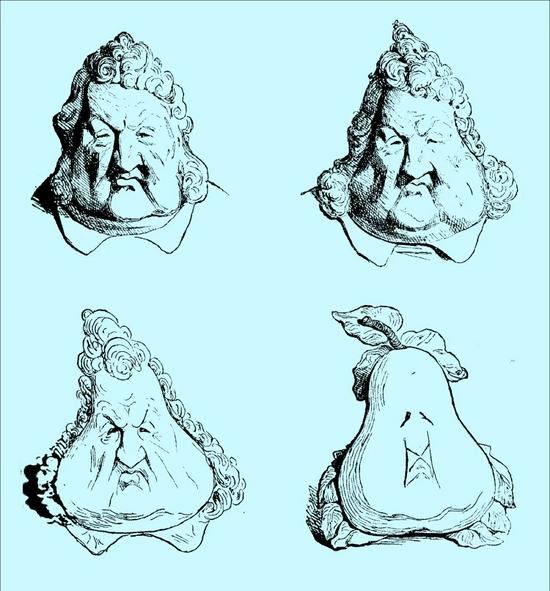 夏尔·菲利庞 四只梨子(讽刺路易·飞利浦的漫画) 1833年