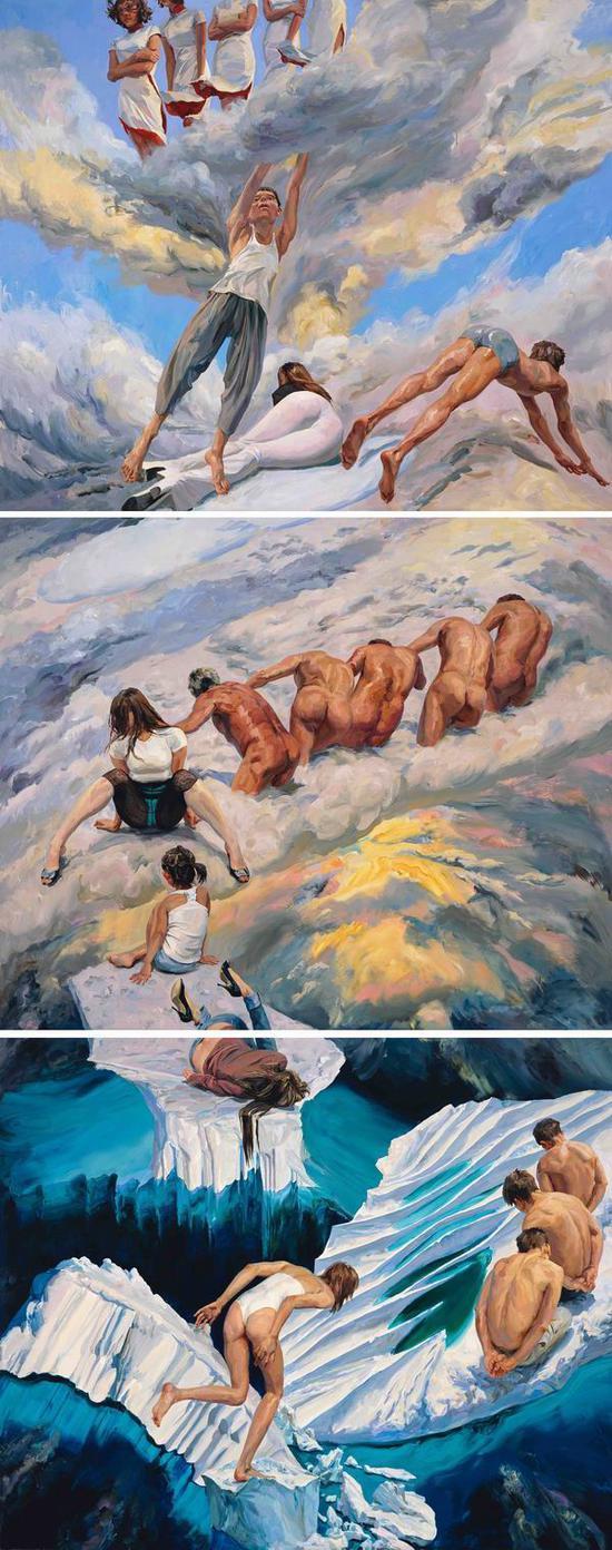 《天上人间》,2018,布面丙烯,750 x 300 cm