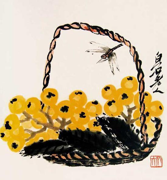 齐白石 枇杷蜻蜓 35cm×35cm 约20 世纪40 年代中期