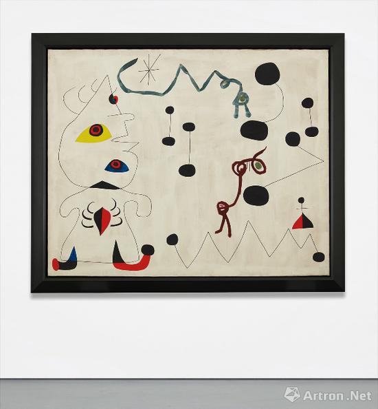 胡安·米罗(Joan Miró)作品 布面油画 129.9 x 162.6 cm 1945年作