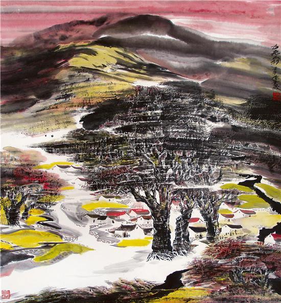 《古老山村》国画