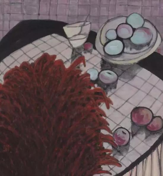 杨佴旻 有绿果子的静物 设色纸本 80×75cm 2004年