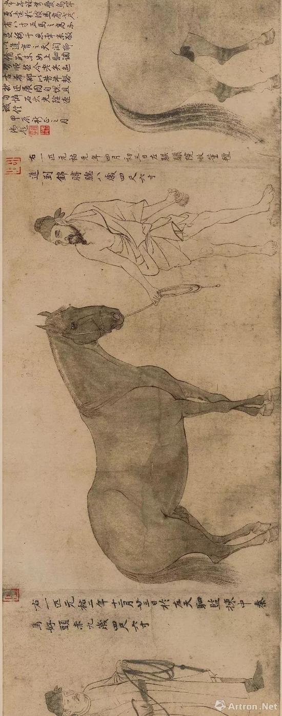 李公麟 《五马图》 正在日本东京国立博物馆展出