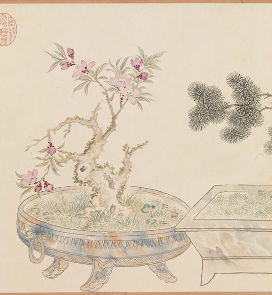 清 汪承霈 画万年花甲 形式:轴 尺寸:37.5 x 549.8 公分(局部)